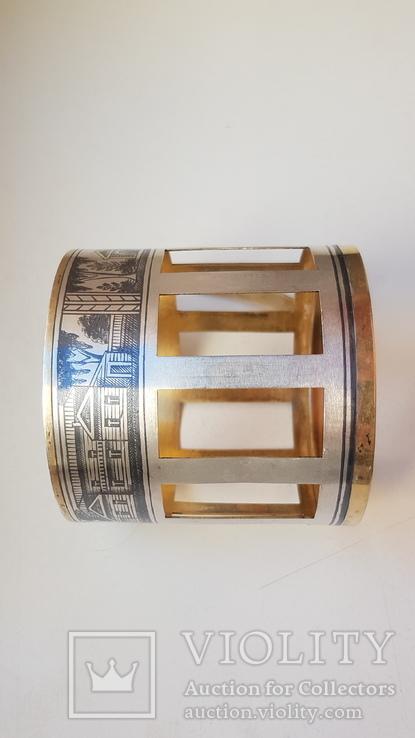 Подстаканник серебро СССР 875 проба. Чернь. Позолота. Вес 91 г., фото №9