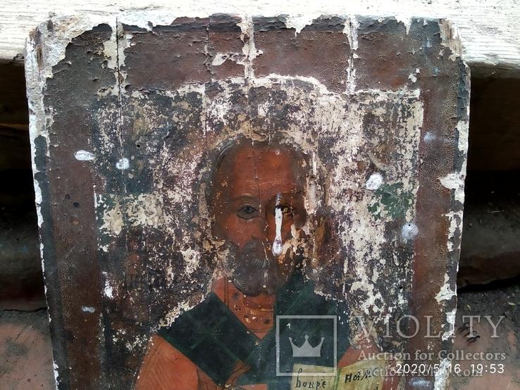 Старинная икона Николай Чудотворец под реставрацию, фото №4