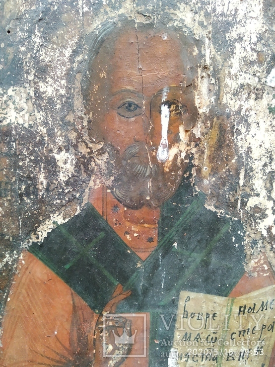 Старинная икона Николай Чудотворец под реставрацию, фото №5