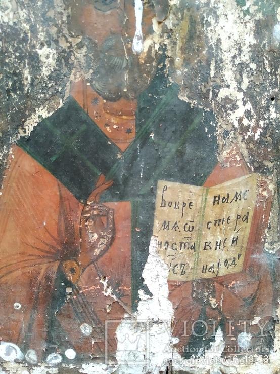 Старинная икона Николай Чудотворец под реставрацию, фото №6