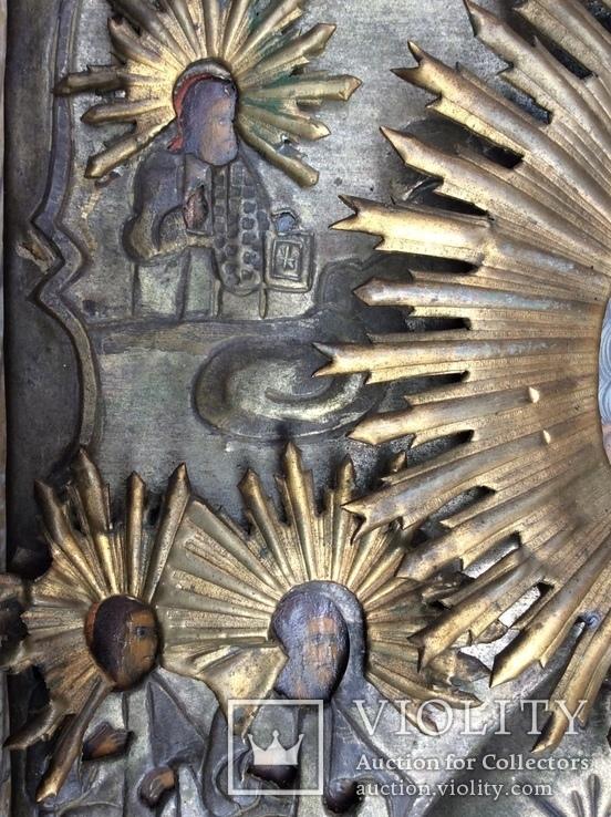 Икона Св.Николай Чудотворец с приписными, в окладе, фото №4