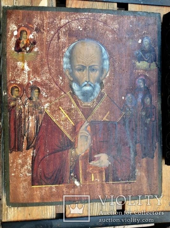 Икона Св.Николай Чудотворец с приписными, в окладе, фото №6