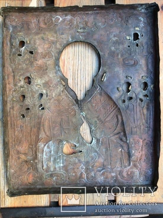 Икона Св.Николай Чудотворец с приписными, в окладе, фото №9