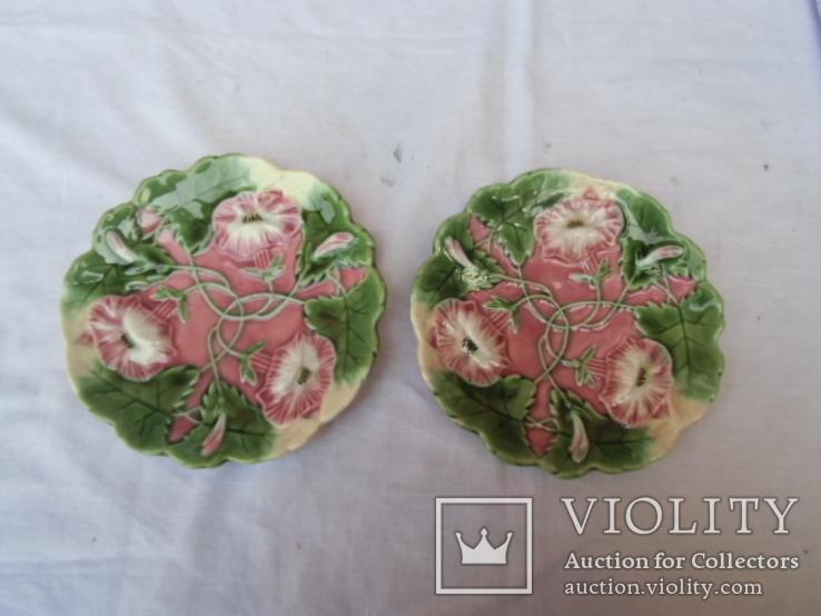 Старинные настенные тарелки майолика пара, фото №2