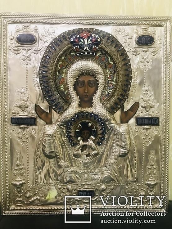 Икона «Знамение» в медно-бронзовом окладе 38*32, фото №2