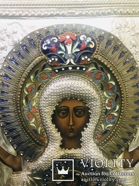 Икона «Знамение» в медно-бронзовом окладе 38*32, фото №4