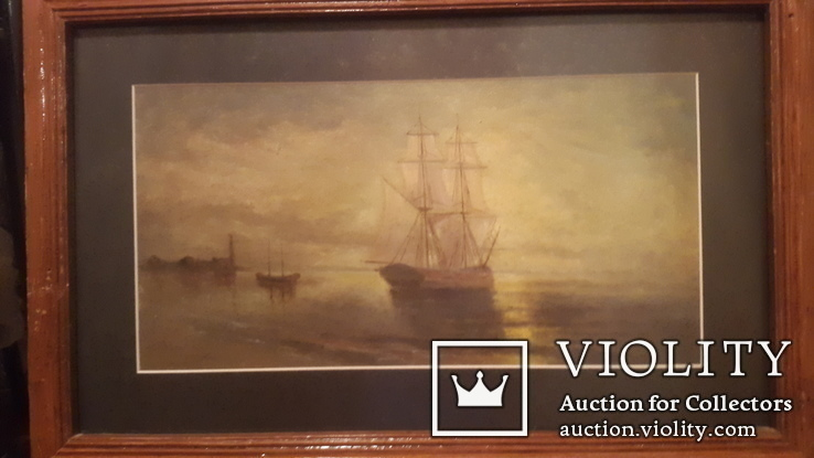Старая картина в раме Морской пейзаж, фото №3