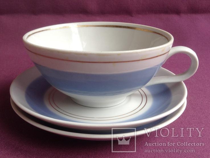 Чайная пара Голубое небо.  Фарфор. Чашка, блюдца., фото №2