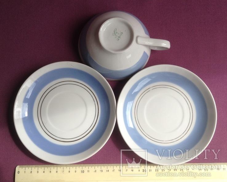 Чайная пара Голубое небо.  Фарфор. Чашка, блюдца., фото №4