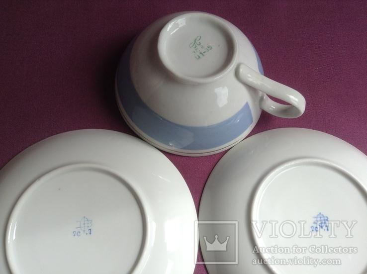 Чайная пара Голубое небо.  Фарфор. Чашка, блюдца., фото №6