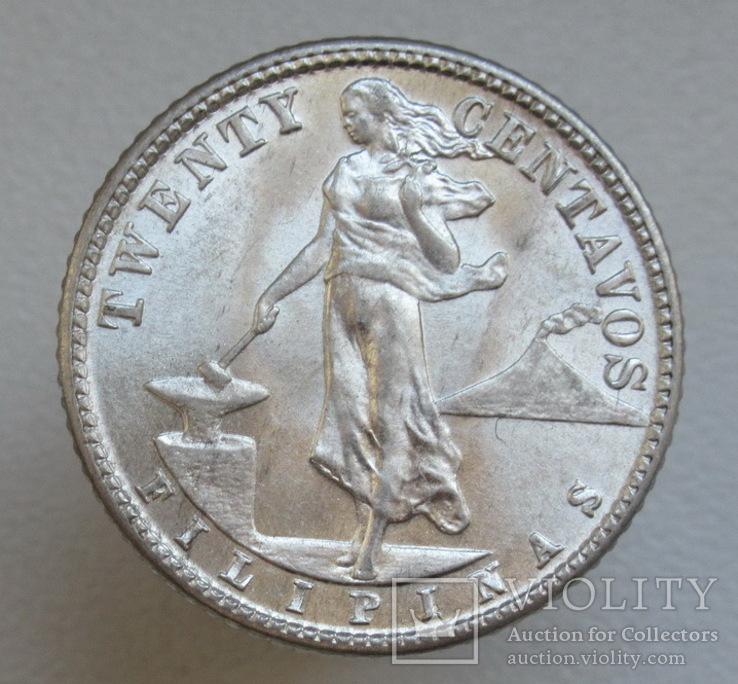 20 сентаво 1944 г. Филиппины, серебро, UNC, блеск, фото №3
