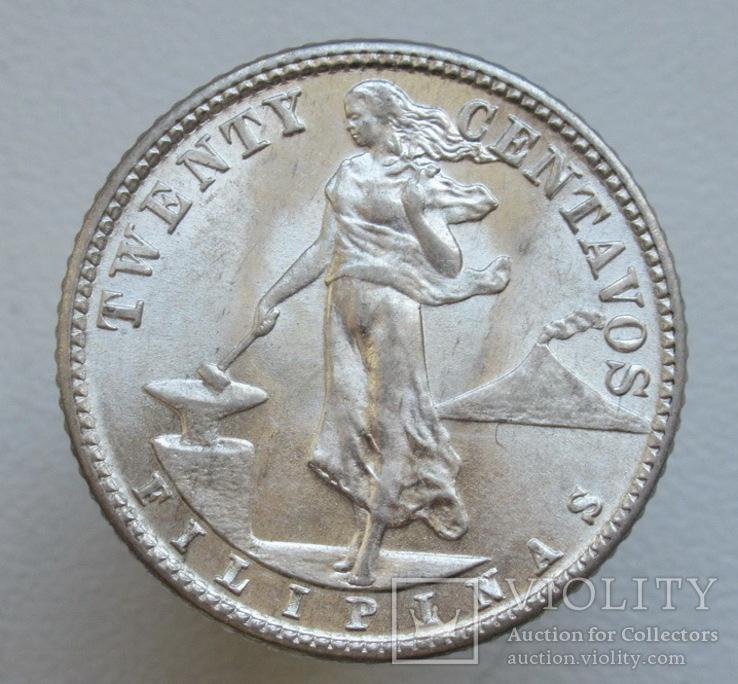 20 сентаво 1944 г. Филиппины, серебро, UNC, блеск, фото №4