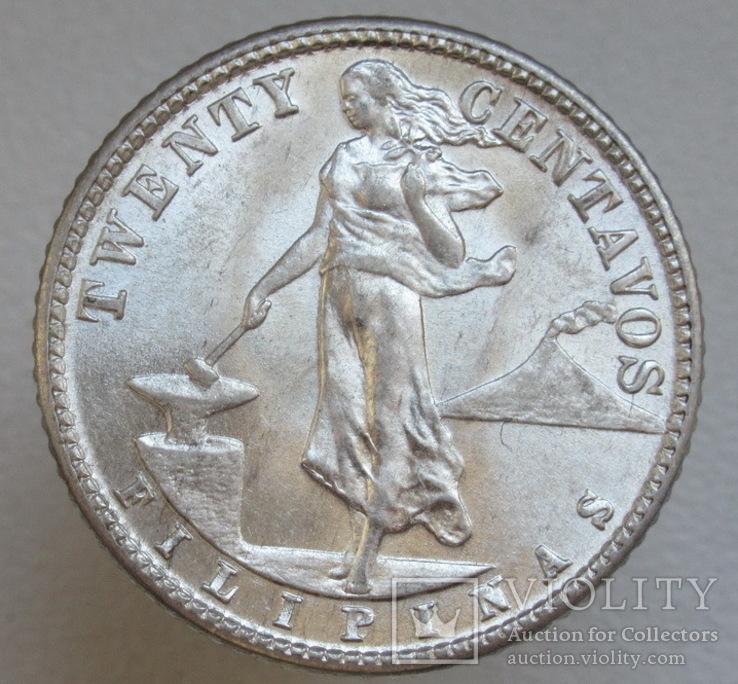 20 сентаво 1944 г. Филиппины, серебро, UNC, блеск, фото №5