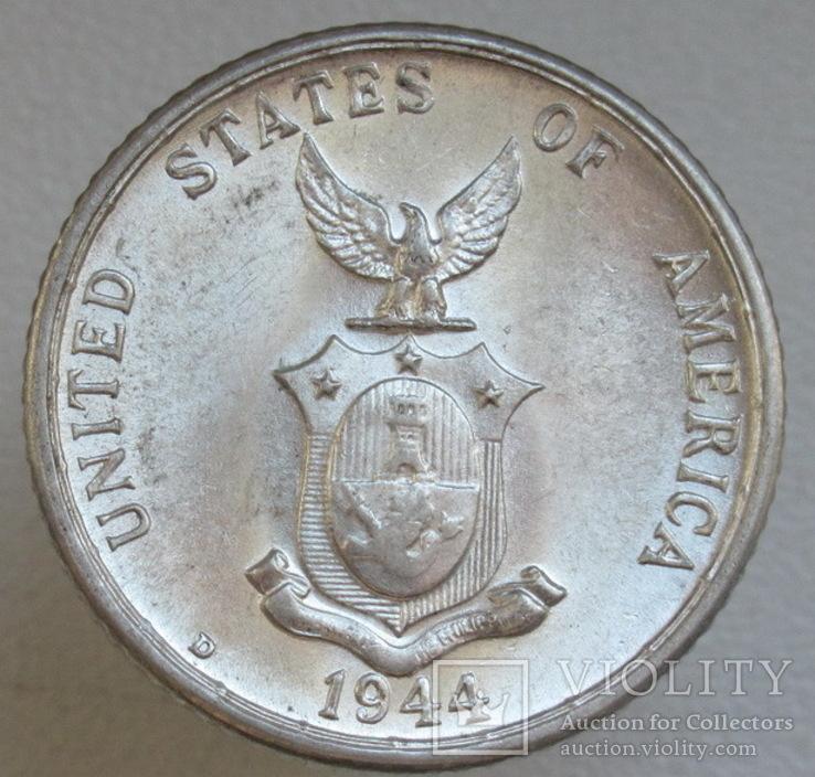 20 сентаво 1944 г. Филиппины, серебро, UNC, блеск, фото №7