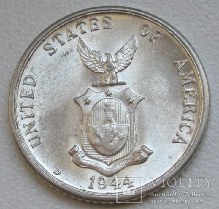 20 сентаво 1944 г. Филиппины, серебро, UNC, блеск, фото №11