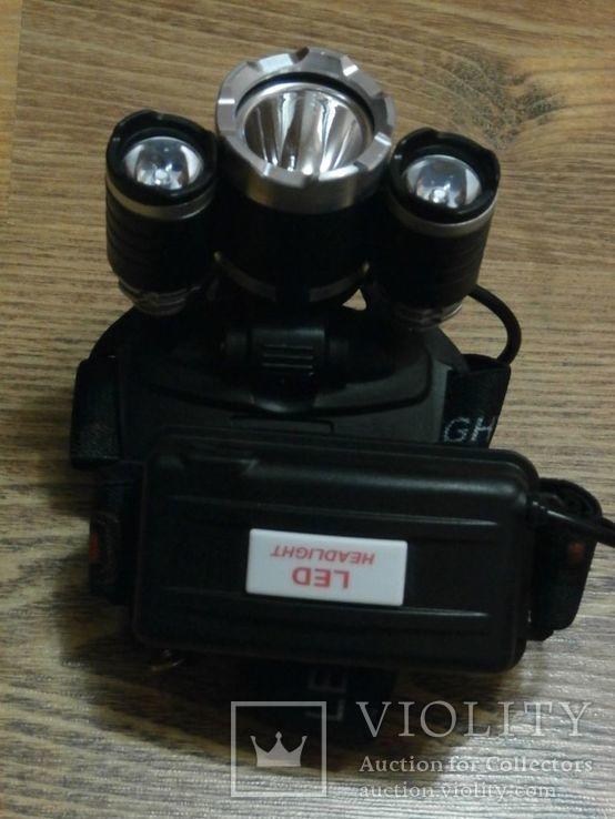 Налобный аккумуляторный фонарь Bailong Police RJ 3000 T6 3 Led, фото №3