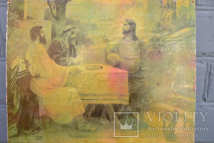 Старинная литография Иисус Христос. Размер 32 х 52 см., фото №4