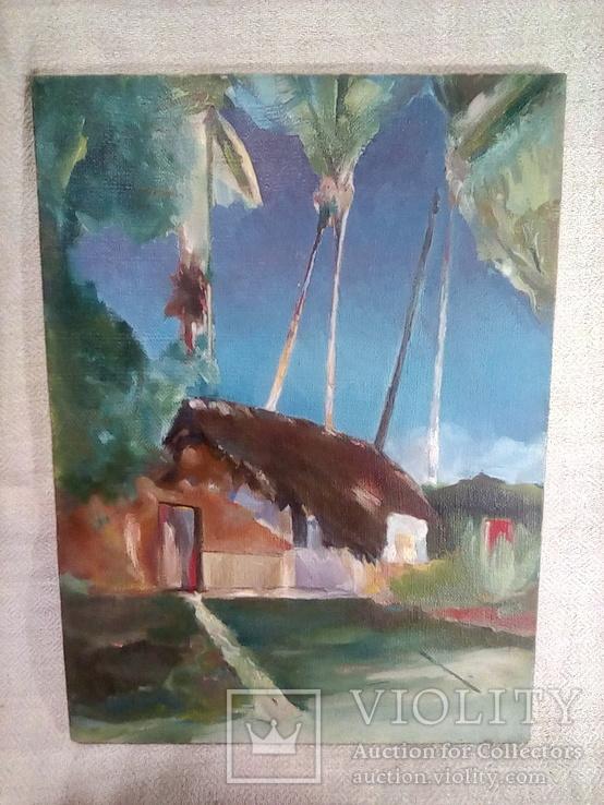 /Поль Гоген ''Хижина под пальмами''/ . Масло. Холст. 39.5х40.5 см. Худ. Коленько Н.А. Копия., фото №2
