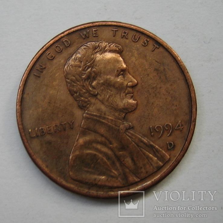 США 1 цент 1994 года.D., фото №2