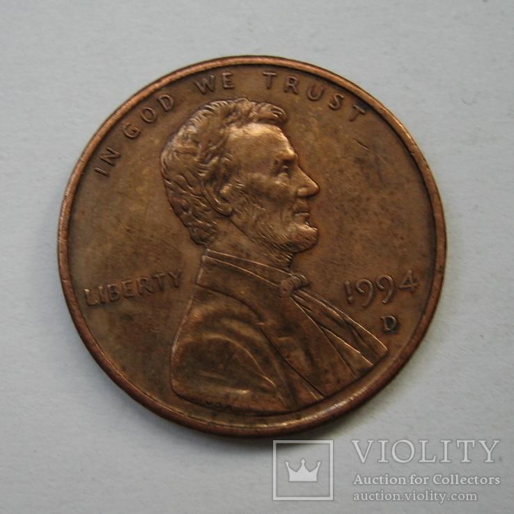 США 1 цент 1994 года.D., фото №3