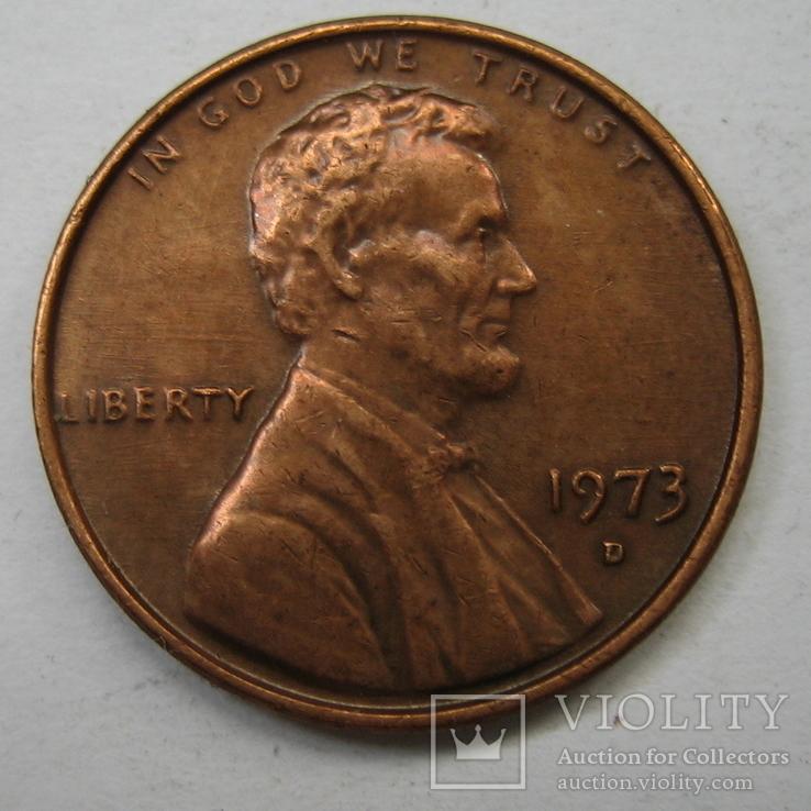 США 1 цент 1973 года.D., фото №2