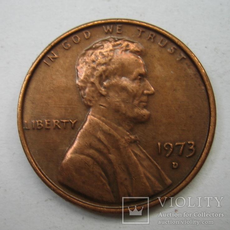 США 1 цент 1973 года.D., фото №3