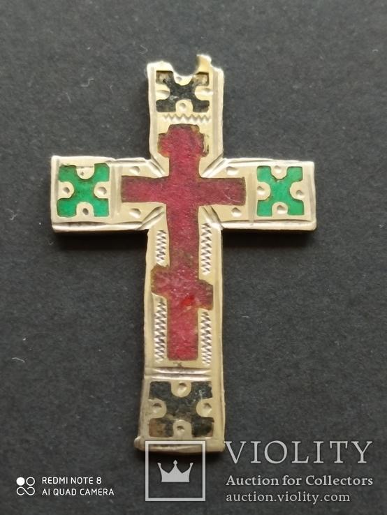 Серебряный Крест с Эмалями. 84 Проба., фото №2