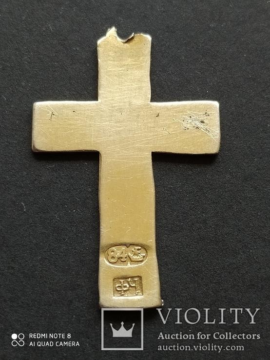 Серебряный Крест с Эмалями. 84 Проба., фото №3
