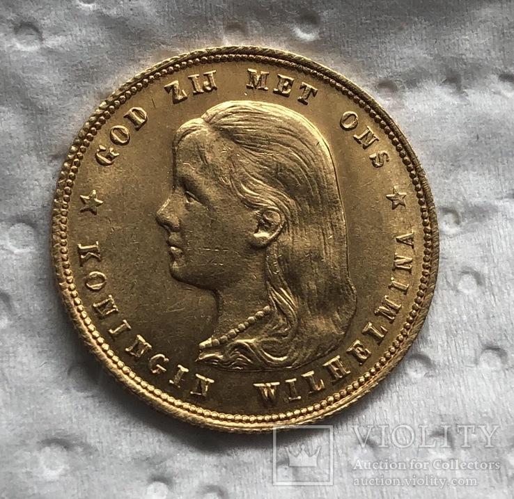 10 гульденов 1897 год Нидерланды золото 6,72 грамм 900', фото №3
