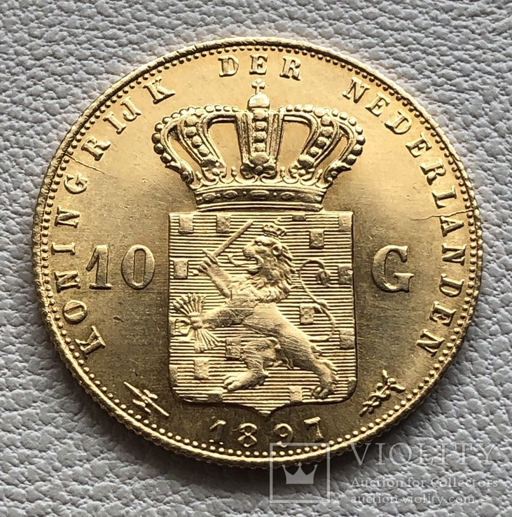10 гульденов 1897 год Нидерланды золото 6,72 грамм 900', фото №4