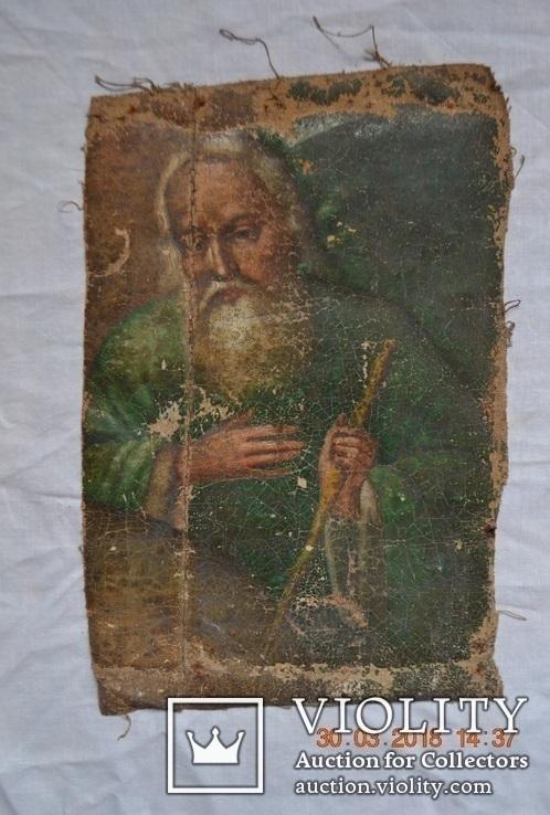 """Икона """"Господь Саваоф"""", """"Бог Отец"""". Часть с иконы на ткани. Размер: 36(36,5)x24(24,5) см., фото №3"""
