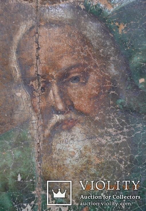 """Икона """"Господь Саваоф"""", """"Бог Отец"""". Часть с иконы на ткани. Размер: 36(36,5)x24(24,5) см., фото №5"""