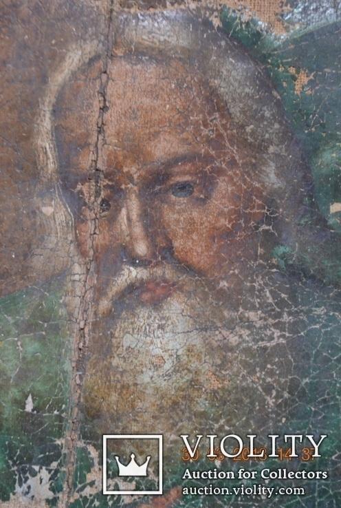 """Икона """"Господь Саваоф"""", """"Бог Отец"""". Часть с иконы на ткани. Размер: 36(36,5)x24(24,5) см., фото №6"""