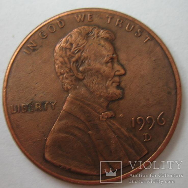 США 1 цент 1996 года.D., фото №2