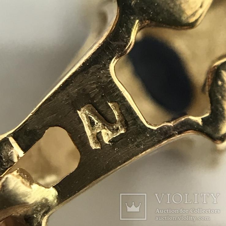 Колье золото бриллианты сапфиры, фото №6