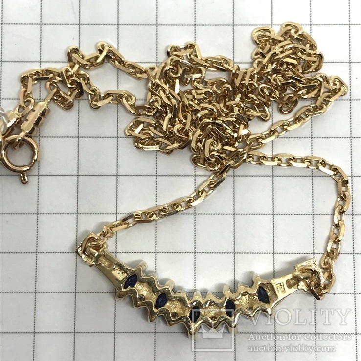 Колье золото бриллианты сапфиры, фото №11