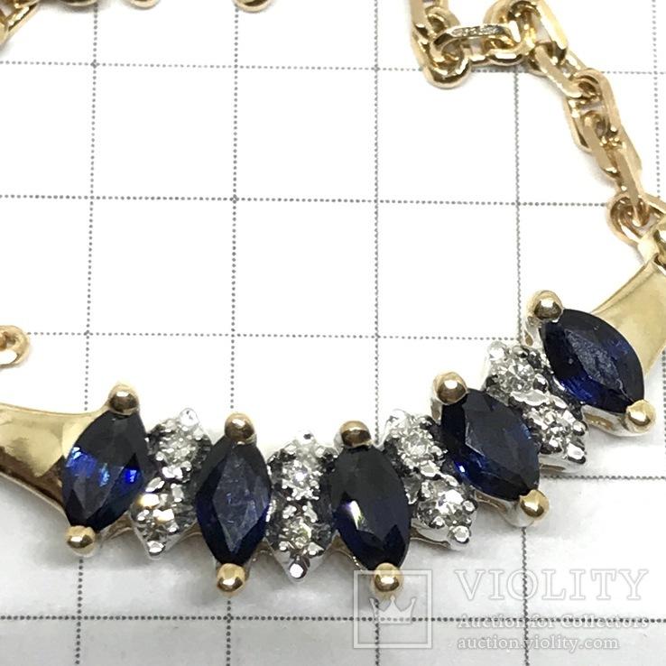 Колье золото бриллианты сапфиры, фото №12