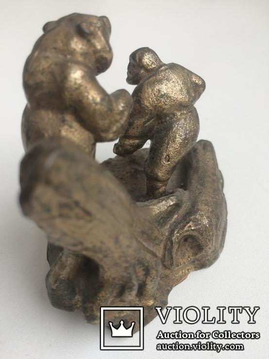 Композиция «Охотник и медведь» /Бронза/., фото №4