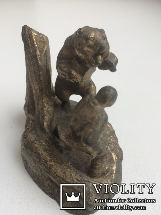 Композиция «Охотник и медведь» /Бронза/., фото №8