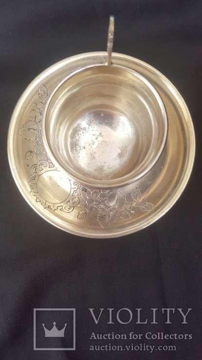 """Чашка с блюдцем Серебро 84*. Клеймо мастера """"Л.О"""", фото №4"""