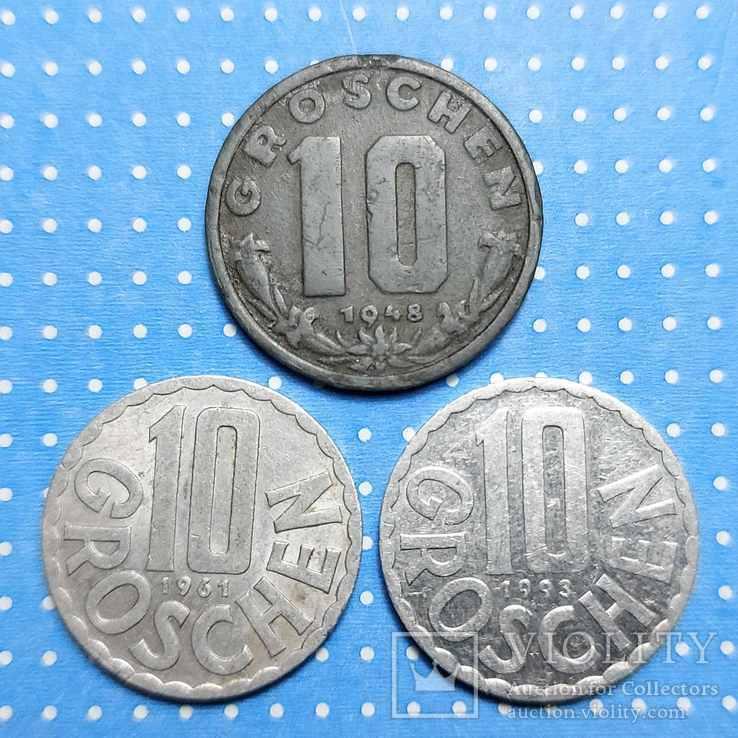 10 грошей. Австрия. 1948, 1961. 1993., фото №2