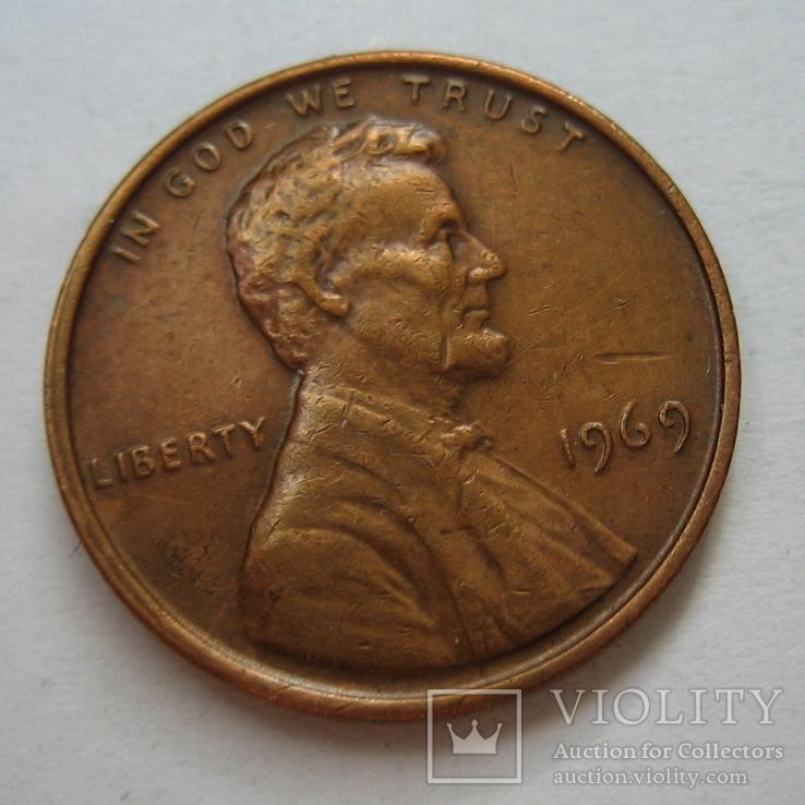 США 1 цент 1969 года., фото №3