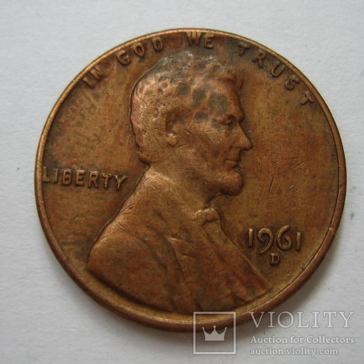 США 1 цент 1961 года.D, фото №4