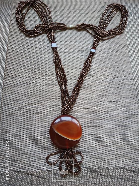 Ожерелье из бисера кулон сердолик, фото №2