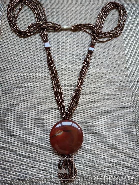 Ожерелье из бисера кулон сердолик, фото №3