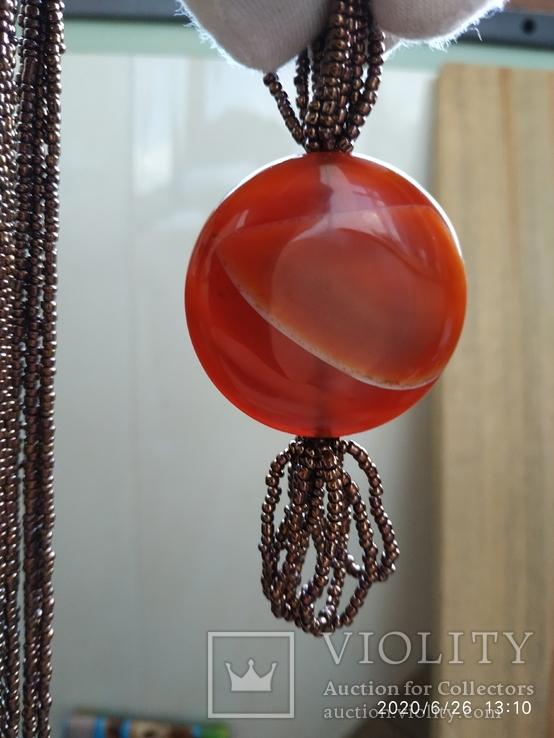 Ожерелье из бисера кулон сердолик, фото №9