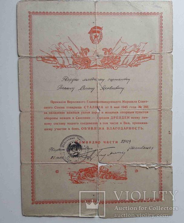 Благодарность за овладение г. Дрезден 1945г., фото №2