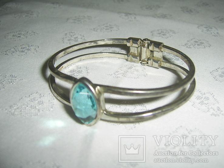 Браслет пружинный (краб) с голубым камнем, фото №3