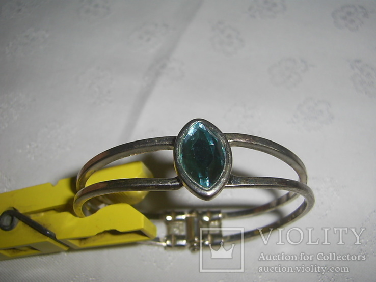 Браслет пружинный (краб) с голубым камнем, фото №5