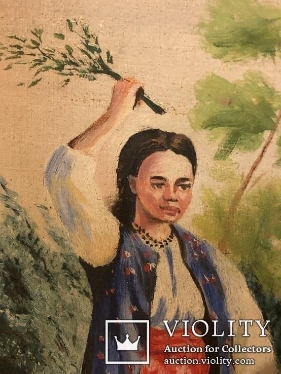 Работа по мотивам картины ''На кладке'' К.Трутовского . Копия., фото №3